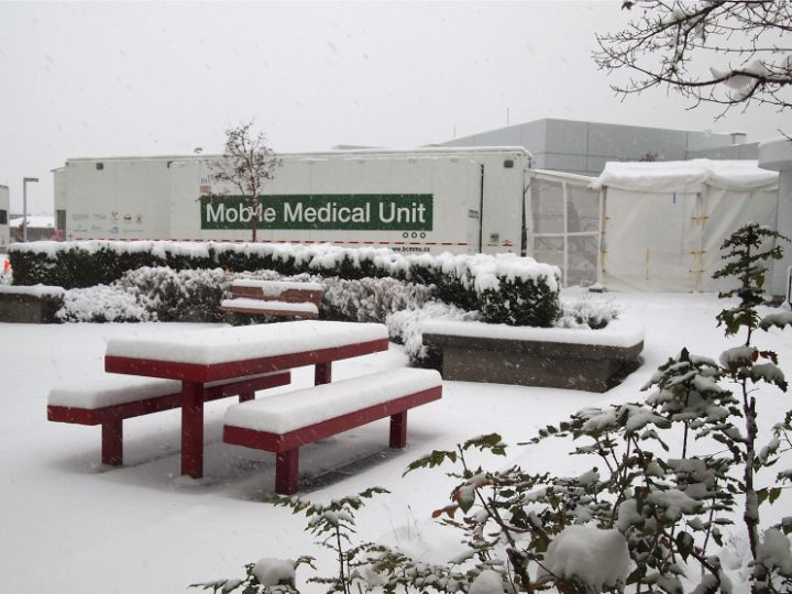 Mobile Medical Unit covered in snow