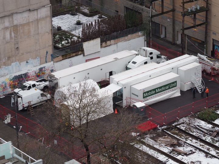 Overhead view of the Mobile Medical Unit and supply trailer